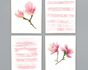 Magnolia painting with pink stripes Magnolia watercolor Botanical watercolor print Magnolia wall decor Magnolia poster decor art Magnolia