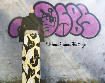 Vintage Bold Retro Black And Yellow Maxi Dress (Size XS/S)