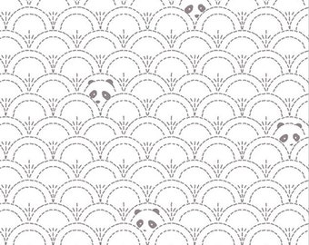 Panda Pandalicious Fabric by Katarina Roccella for Art Gallery Fabrics AGF - Grey and White - Hidden Panda Cottonbud - One Yard Fabric