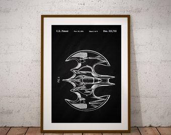 Batman Batplane Batman Patent Print DC Comics Superhero Poster Batman Poster Gotham City Print  (11 sizes available)