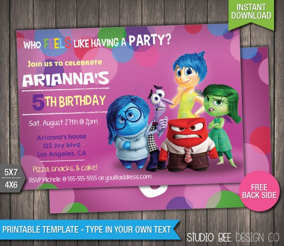 Inside Out Invitation INSTANT DOWNLOAD Printable Disney