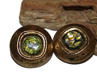 Foil Glass Clip on Earrings, Art Glass Earrings, Heavy Earrings, Large Earrings, Statement Earrings, Beautiful Earrings, Retro Earrings