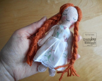 "Mini Felt Doll - 12cm - 5"" - A doll's doll - For 18"" Doll - Playtime - Sleepy - Sweet dreams - Pajama Party - Dollhouse"