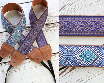 Leather and Suede Camera Straps in Blue Nordic and Blue Damask DSLR SLR Photo