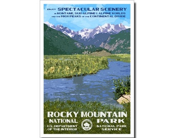"Rocky Mountain (Moraine Park) National Park Poster, WPA style 13"" x 19"" Signed by the artist. FREE SHIPPING!"