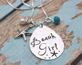 BEACH GIRL Necklace, Starfish Necklace, Beach Jewelry, Stamped Necklace, Pearl, Aqua Bead, Hand Stamped Jewelry