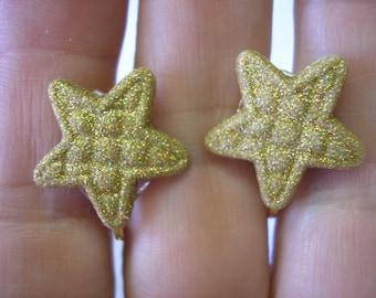 "Play Earring - Clip - Quilt Look Glitter Coverd Star - Gold - 3/4"""