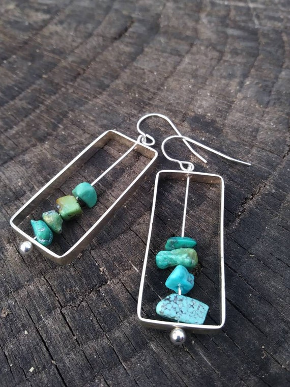 Sterling silver and turquoise earrings- minimalistic raw stone