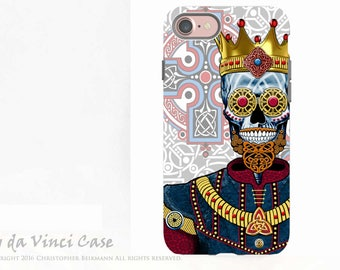 Celtic Sugar Skull King - Artistic iPhone 7 and Apple iPhone 8 Tough Case - Dual Layer Protection - O'Skully King of Celts