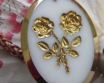 Vintage Intaglio Glass Rose Cabochon
