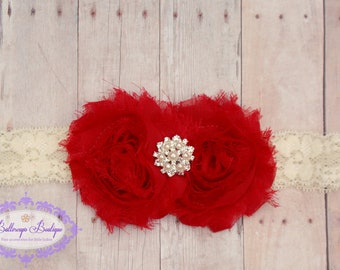 Red ivory headband, red baby headband, infant headband, newborn headband, photo prop, Christmas headband, red and ivory headband