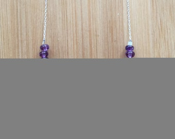 Amethyst Necklace, Sterling Silver Necklace, February Birthstone Necklace, Amethyst Jewelry, Purple Beaded Necklace