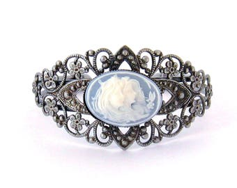 Victorian Cameo Cuff Bracelet, Two Sisters, Blue on Silver Filigree, Sister Best Friend Jewelry Gift