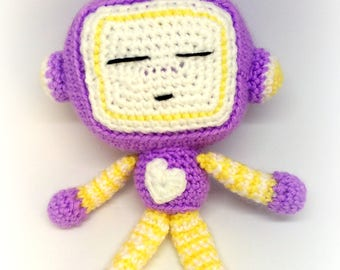 Sleeping Robot, Crochet Robot Stuffed Plushie, Soft Toy Robot, Amigurumi Toy, Nursery Decor