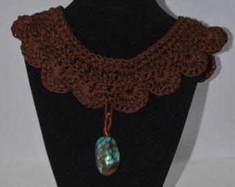 Brown Crochet Choker Necklace with Copper Wire-Wrapped Turquoise Pendant
