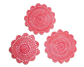 3 red coral Crochet Doilies Vintage hand dyed doilies