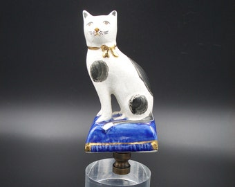 Custom Lamp Finial Featuring a Staffordshire-like Cat on a Cobalt Blue Pillow