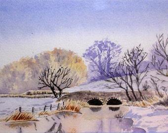 Original watercolor, painting of a bridge, snowy landscape