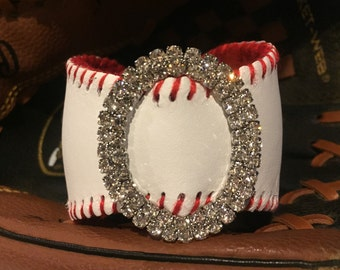 Baseball Leather Cuff Bracelet Made From Real Baseballs PERSONALIZED