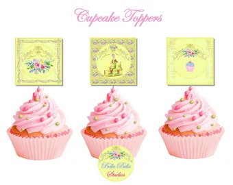 MARIE ANTOINETTE ~ Golden Bridal ~ Cupcake TOPPERS ~ Printable Instant Download