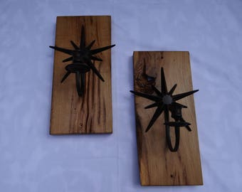 Candle Cast Iron Light Holders 16th Century Solid English Oak.