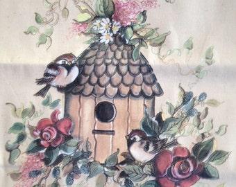 Birds & birdhouse natural tote bag