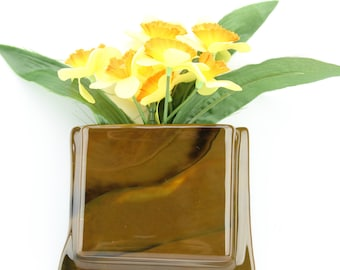 Brown hanging notepad holder - Brown glass hanging flower vase - Brown glass hanging recipe card holder