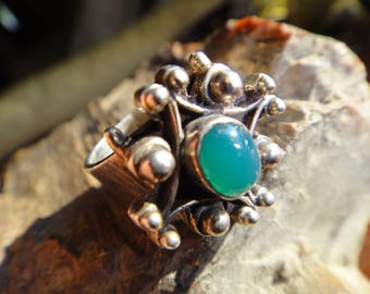 Retro Vintage Jade Ring Sterling Silver Size 5.5 16mm