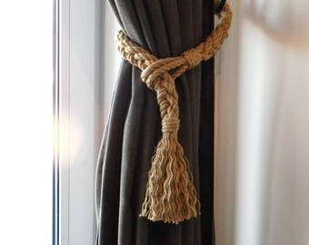 Curtain Tie backs - Pigtail of four ropes - curtain holdbacks - Jute Rope