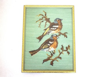 Bluebirds Framed Vintage Needlepoint Picture
