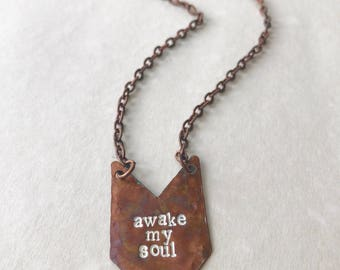 Awake My Soul Inspirational Quote Necklace Meaningful Encouragement Motivational Adventurer Travel Wander Copper Stamped Gift Under 30