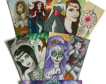 Bookmarks - Choose 3 - Fantasy Art Illustration Spooky Gothic Goth Halloween Cheshire Cat Queen of Hearts Witch Wicca Pagan Princess Goddess