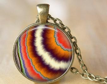 Pendentif en agate Fractal, collier ou porte-clé - choix de 4 couleurs de cadre - collier de fractale, abstrait