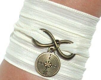 Infinity Labyrinth Silk Wrap Bracelet Yoga Jewelry Path Maze Journey New Beginnings Earthy Fall Eternity Love Stocking Stuffer Yogi Gift M59