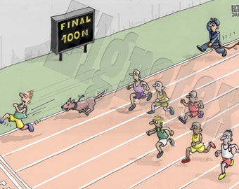 """Color Hand-Drawn Downloadable Cartoon, Funny Digital Comic, Cartoons, humor art gift - """"Athlete being chased by a dog"""""""