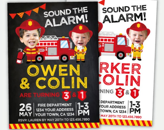Fire fighter Invitation with photo, Sibling Birthday Invitations, Personalized Digital Invitation, 2 options