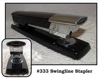 Vintage Faux Wood Grain & Black Desk Stapler by Swingline, 60s, Model 333
