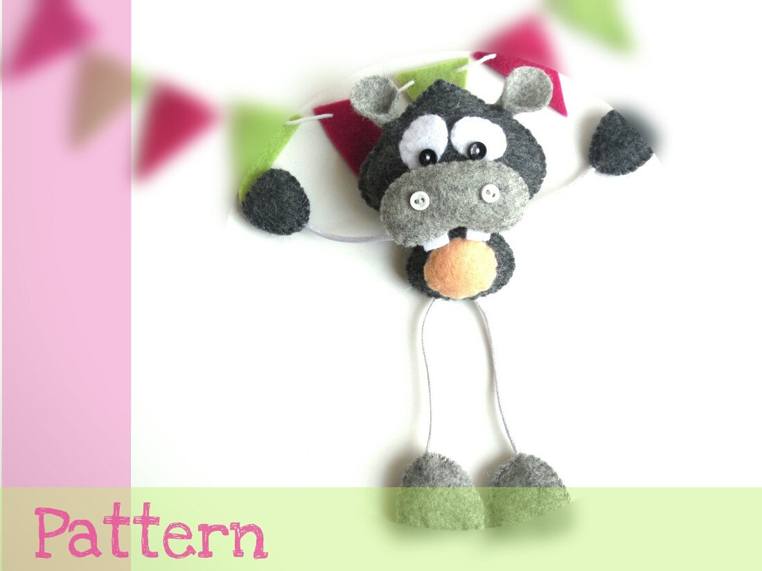 Skinny hippo pdf sewing pattern tutorial funny hippo toy cute zoom jeuxipadfo Choice Image