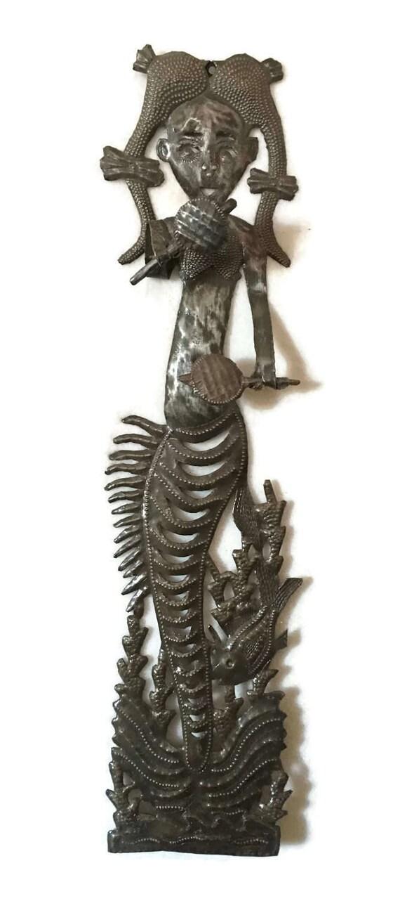 "Mermaid with Maracas, Whimsical Metal Art Haiti 4"" x 18"""