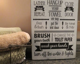 Bathroom Rules Sign / Rustic Bathroom Decor / Bathroom Decor / Brush Your Teeth / Use Soap / Home Decor / Wall Hanging