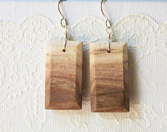 Black Walnut Beautiful Wood Grain Wooden Earrings  with Sterling Silver French Ear Wires