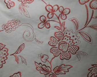 Tan/Rust Embroidered Floral Remnant Fabric, 3 Yard Piece, Sewing, Bedding, Home Decor