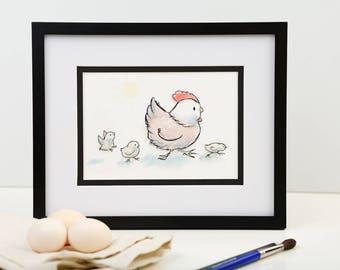 Mother hen and chicks, Cute chicken illustration, Barnyard nursery art, Easter baby chicks