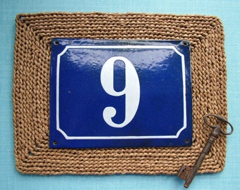 Vintage 1940s French Blue and White Enamel House Number Sign