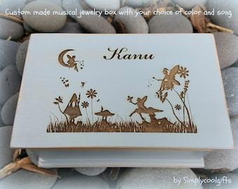 fairy, fairies, music box, jewelry box, wooden jewelry box, custom made music box, musical jewelry box, birthday gift, personalized gift