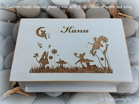 fairy fairies music box jewelry box wooden jewelry box