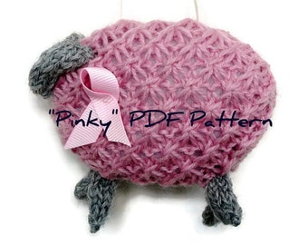 PDF Knitting Pattern Pink Sheep for Breast Cancer Instant Download Knit Sheep Lamb Ornament Fundraiser Advanced Beginner Knitter