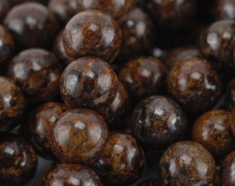 8mm Large Hole Bronzite Beads