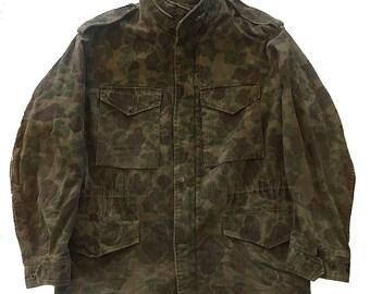 Vintage Rare 1960s-70s Duck Hunter Camo M-65 Jacket Size M/L Civilian