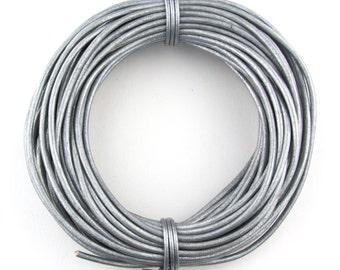 Gray Metallic Round Leather Cord 2mm 10 meters (11 yards)